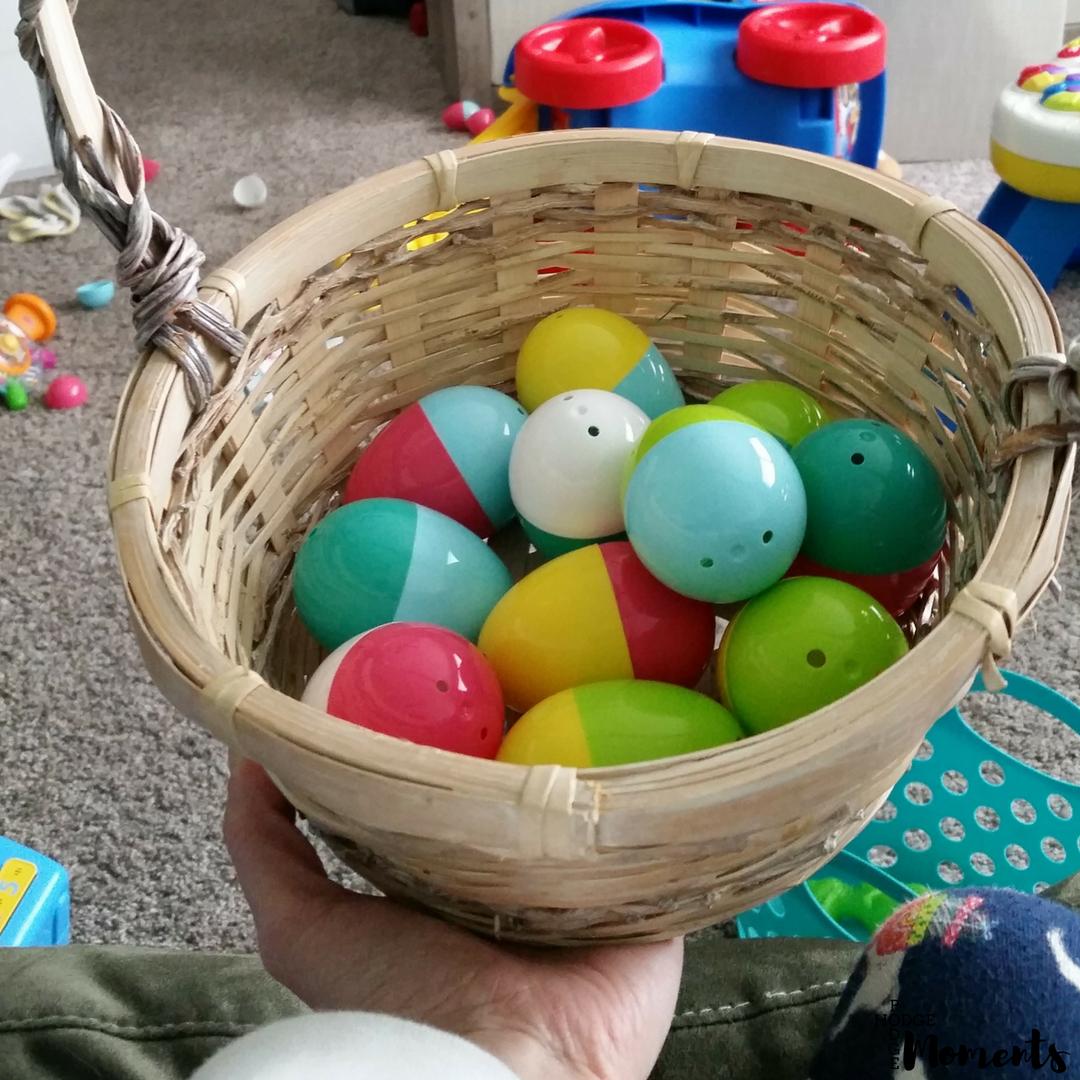 Pregnancy reveal using Easter eggs.